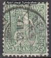 Schweiz Mi. Nr. 41 Sitzende Helvetia Faserpapier o