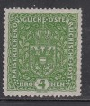 �sterreich Mi. Nr.206 II ** Wappen 4 Kr Bildgr��e 26 x 29 mm