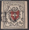 Schweiz Mi. Nr. 6 I o RAYON I Kreuz mit Linieneinfassung