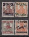 Freie Stadt Danzig Mi. Nr. 43 - 46 II ** Freimarken Typ II