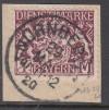 AD Bayern Dienst Mi. Nr. 29 y o Briefstück 1 M Staatswappen geprüft